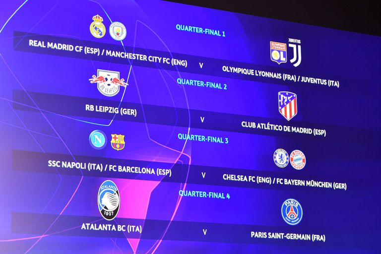 Los cruces de cuartos de final de la Champions League.