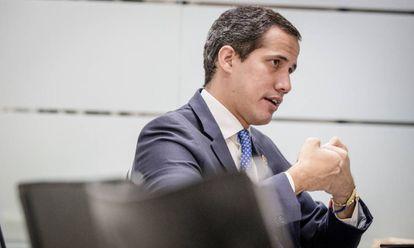 Juan Guaidó, este sábado en su despacho de Caracas.