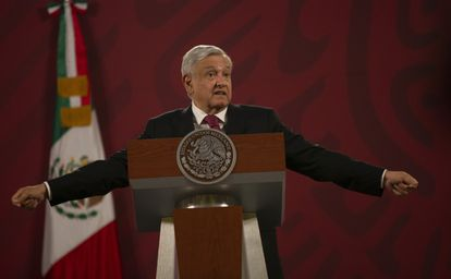 López Obrador, durante us conferencia matutina.