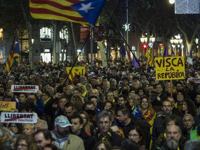 Manifestación independentista en Barcelona el pasado mes de diciembre.