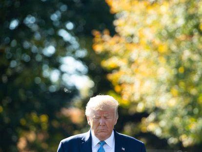 El presidente Trump, en los jardines de la Casa Blanca.