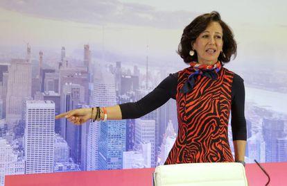 Ana Botín, presidenta del Santander, en la presentación de resultados anuales celebrada en Madrid, este miércoles.
