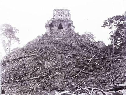 Imagen de Chichén-Itza en 1891, tomada por Maudslay.