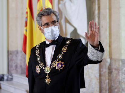 El presidente del Tribunal Supremo y del Consejo General del Poder Judicial, Carlos Lesmes, este lunes en el acto de apertura del año judicial.