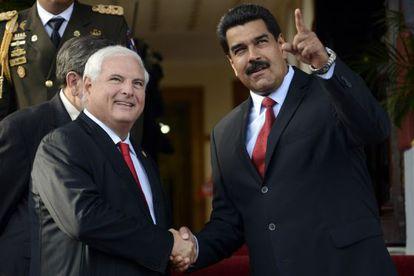 El presidente de Venezuela, Nicolás Maduro, y su homólogo panameño, Ricardo Matinelli.