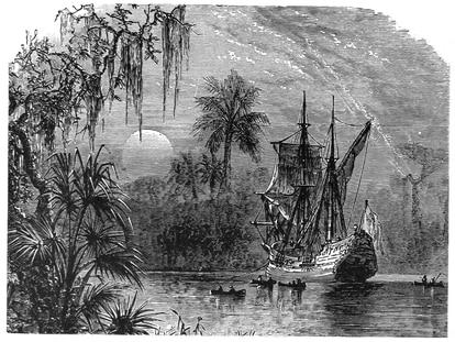 Expedición de Ponce de León en Florida, según un grabado de 1885.