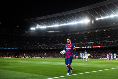 Messi, en el partido de Liga contra la Real Sociedad en el Camp Nou.