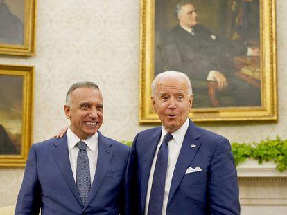 Mustafa al Kadhimi y Joe Biden el lunes en la Casa Blanca.