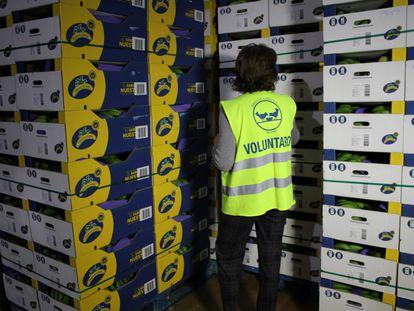 Cajas de plátanos de Canarias, en un banco de alimentos.