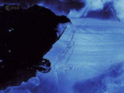 Las imágenes de la ruptura fueron captadas por un satélite de la Agencia Espacial Europea