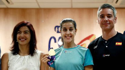 Carolina Marín tras el homenaje del Consejo Superior de Deportes por conquistar su tercer mundial.