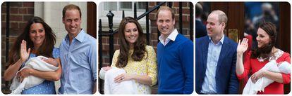 Los duques de Cambridge en los nacimientos de sus tres hijos: Jorge, Carlota y Luis.