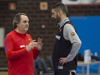 Alfred Julbe, en su primera sesión de entrenamiento, con Navarro.