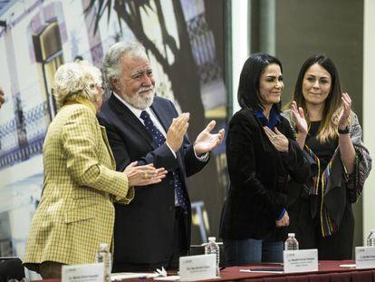 La periodista Lydia Cacho en el acto de disculpa pública.