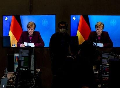 La canciller Angela Merkel pronuncia su discurso en el congreso virtual de la CDU, este viernes, en Berlín.