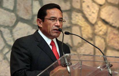 Alberto Reyes Vaca, durante su toma de posesión como Secretario de Seguridad Pública de Michoacán, en mayo de 2013.