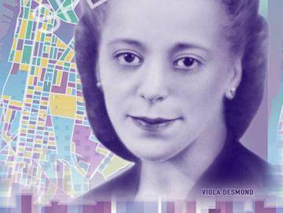 El billete de 10 dólares canadienses con Viola Desmond.