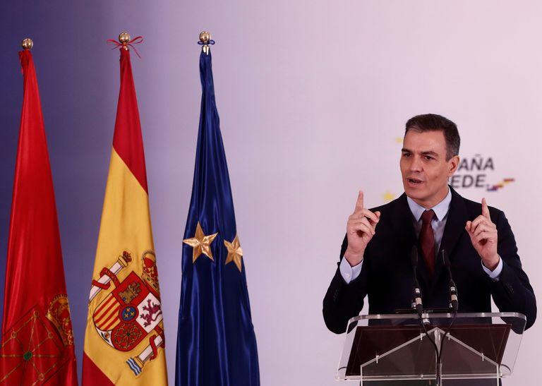 El presidente del Gobierno, Pedro Sánchez, durante la presentación del plan España puede, el 13 de noviembre en Pamplona.