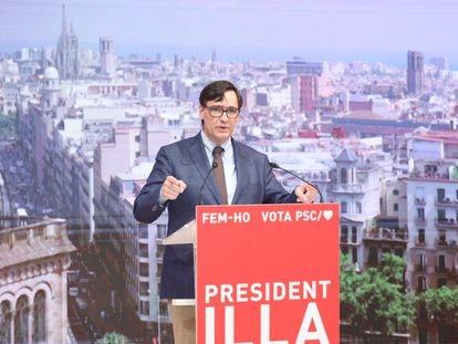 El candidato socialista a las elecciones catalanas, Salvador Illa, durante un acto telemático de campaña.