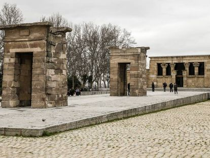 El templo de Debod, en Madrid, el pasado sábado.