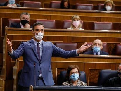 El presidente del Gobierno, Pedro Sánchez, interviene durante la sesión de control al Ejecutivo este miércoles en el Congreso.
