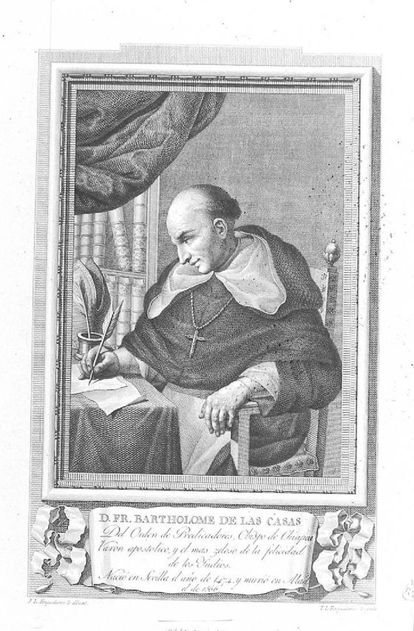 Grabado de Bartolomé de las Casas, realizado en 1791.