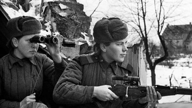 Francotiradoras soviéticas durante la II Guerra Mundial.