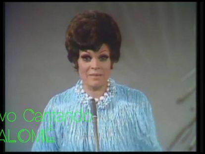 Salomé interpretando 'Vivo cantando', durante el Festival de Eurovisión de 1969.