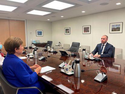 Kristalina Georgieva reunida con Martín Guzmán en Washington, este martes.