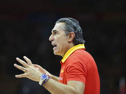 Sergio Scariolo, durante el partido ante Serbia.