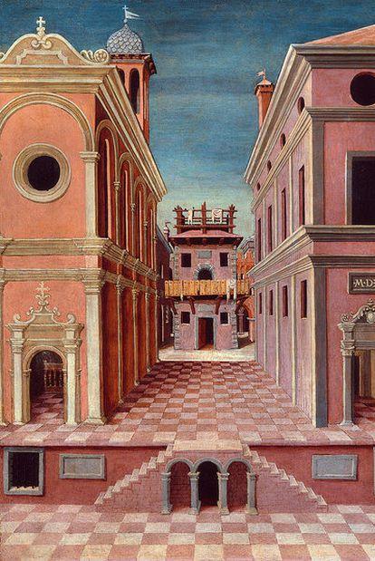<i>Vista de una ciudad</i> (1520), atribuido a G. de Cotignola.