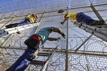Operarios instalaban ayer viernes alambres con cuchillas en la valla de Melilla.
