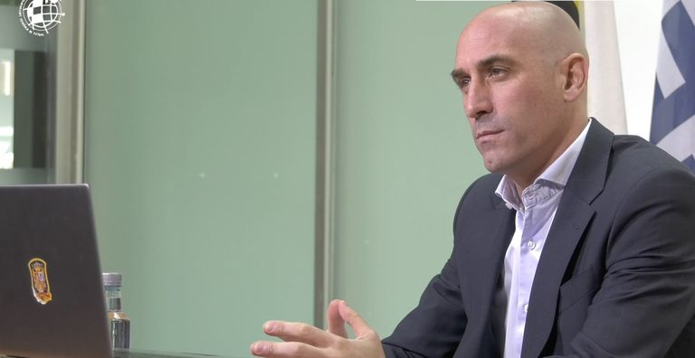 El presidente de la Real Federación Española de Fútbol (RFEF), Luis Rubiales, en la videoconferencia para analizar el futuro de las competiciones europeas en 2020.