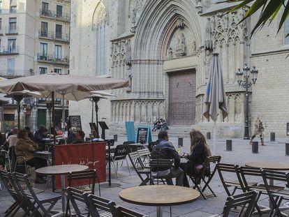 Una de las terrazas del centro de Barcelona.