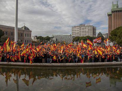 Concentración en la Plaza de Colón, por la unidad de España, el pasado mes de marzo.