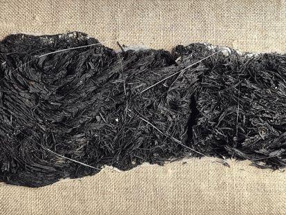 Suela de la sandalia romana hallada en el yacimiento de El Monastil (Elda).