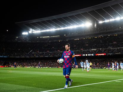 Messi, en el último partido del Barcelona ante la Real Sociedad.