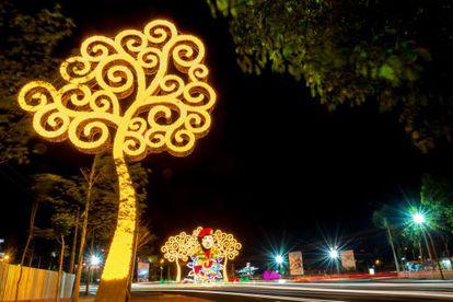 """Dos """"árboles de la vida"""" en Managua, uno con la efigie de Hugo Chávez. Su costo se eleva a los 20.000 dólares."""