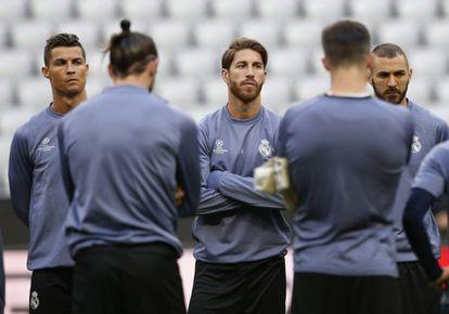 Sergio Ramos en el entrenamiento de este martes.