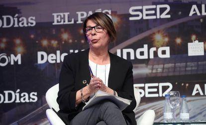 Inés Sabanés, responsable del área de Medio Ambiente y Movilidad del Ayuntamiento de Madrid, hoy en el Observatorio de infraestructuras para la movilidad en Madrid.