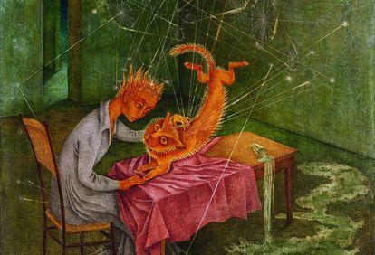 El cuadro 'Simpatía (La rabia del gato)' (1955), de Remedios Varo.