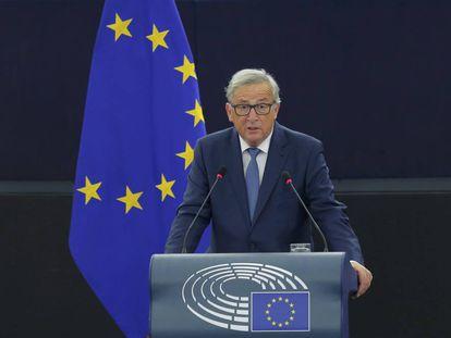 El presidente de la Comisión Europea, Jean-Claude Juncker, en el debate sobre el estado de la Unión.