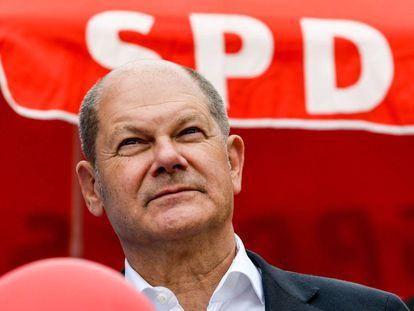 El ministro de Finanzas alemán, Olaf Scholz, durante un acto de campaña del partido socialdemócrata (SPD) a principios de agosto, en el este de Alemania.