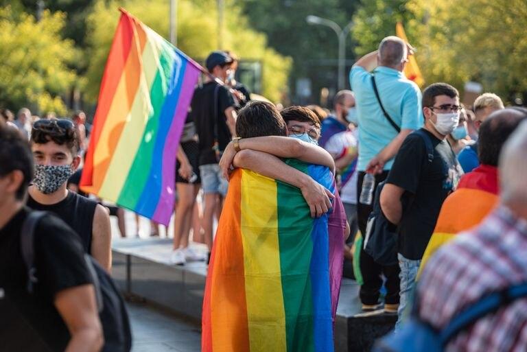 Demonstration on Pride Day in Barcelona, in June 2020.