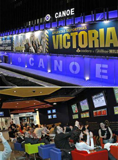 La sala Victoria, en el bingo Canoe de Madrid, donde algunos clientes (abajo) celebran haber ganado su apuesta.