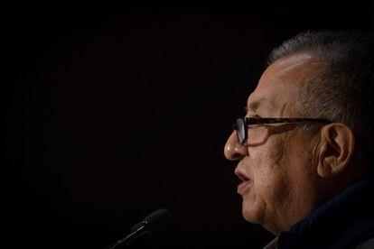 Benjamín Saúl Huerta, diputado de Morena, en una conferencia este 21 de abril.