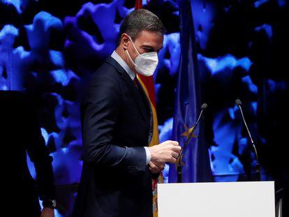 El presidente del Gobierno, Pedro Sánchez, durante un acto en Madrid el lunes.