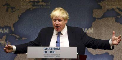 Boris Johnson, durante un discurso en Chatham House, en Londres a principios de diciembre.