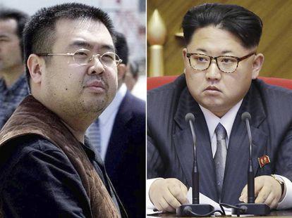 A la izquierda, el asesinado Kim Jong-nam, a la derecha, Kim Jong-un.