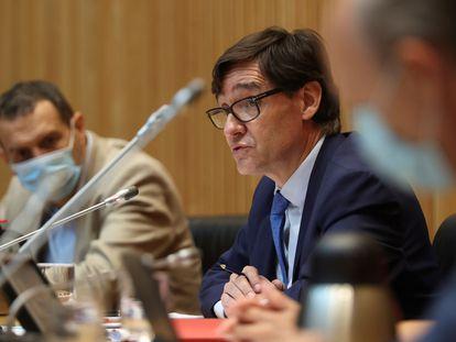 Salvador Illa, el 30 de julio en la Comisión de Sanidad del Congreso.